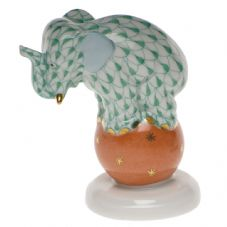 Herend Porcelain Fishnet Figurine of an Elephant Dancing on a Ball